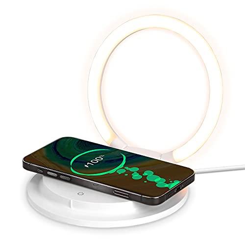 HTU Lampada da comodino a LED Touch dimmerabile con caricatore senza fili, moderna lampada da scrivania con 3 livelli di luminosità per bambini, luce notturna con supporto USB per cellulare