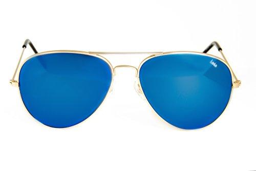 Lois - Flyer MG2, Gafas de Sol Moda Unisex Metal, Dorado Mate/Azul Espejo Aviator unisex aviador sin polarizar Gris