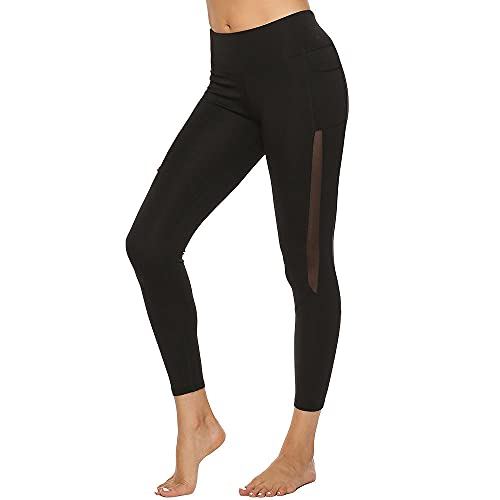 ArcherWlh Leggings Mujer Push Up,Golpear el Bolsillo Lateral Leggings de Yoga Femenino Gauze White Strip S-Negro_L