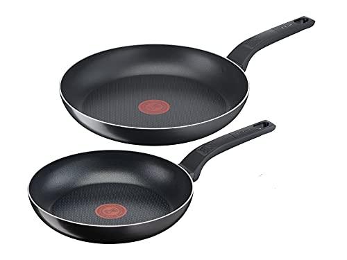 Tefal B55590 Easy Cook & Clean 2-teiliges Pfannenset | bestehend aus Pfanne 20/28 cm | Antihaftversiegelung | sicher | Thermo-Signal | Diffusion Pfannenboden | gesundes Kochen | Schwarz
