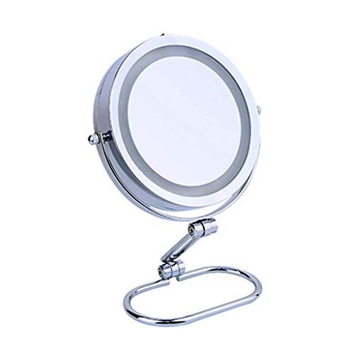 Miroir De Maquillage Illuminé À La Mode Miroir De Maquillage Haute Définition Ajustable Portatif (Couleur : Silver, taille : B(10X))