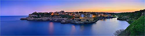 Cuadro panorámico de cristal acrílico, puesta de sol Cala Figuera Mallorca, impresión artística, foto de calidad de galería, cristal acrílico sobre aluminio Dibond