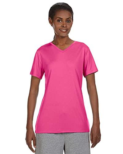 Hanes Sport Cool DRI Performance - Camiseta con Cuello en V para Mujer, Wow Rosado, L