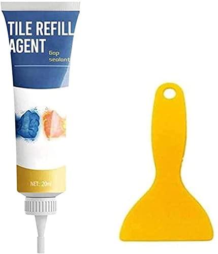 Agente de recarga de azulejos limpiador de revestimiento de reforma sellador reparación pegamento rotulador de pared marcador de lechada blanco con raspador (1 juego)