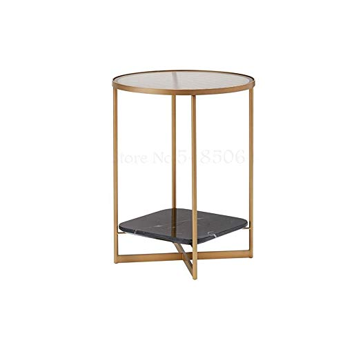 DIAOD Nordic Round Double Corner Table Iron Marble Bedside Small Round Table Corner Coffee Table Light Sofa Glass Side (Color : Gold)