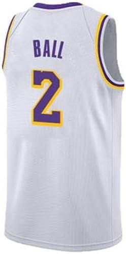 Lonzo Ball NO.2 Lakers De Los Angeles Nouvelle Saison Version Jersey Double Combat Couple Basketball Uniforme Ville Ball Costume Formation Gilet,blanc,M