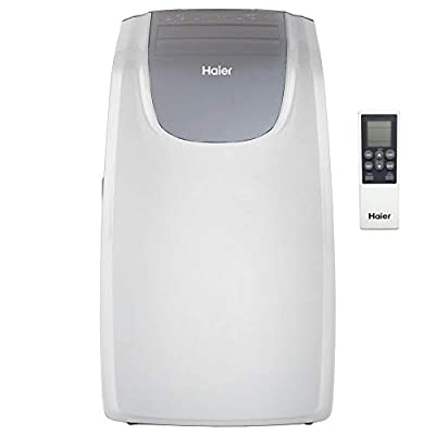 Haier QPCD10AXLW 10,000 BTU 450 Square Foot Electric Portable Air Conditioner AC Cooling Unit with Fan and Dehumidifier Modes, White (Renewed)