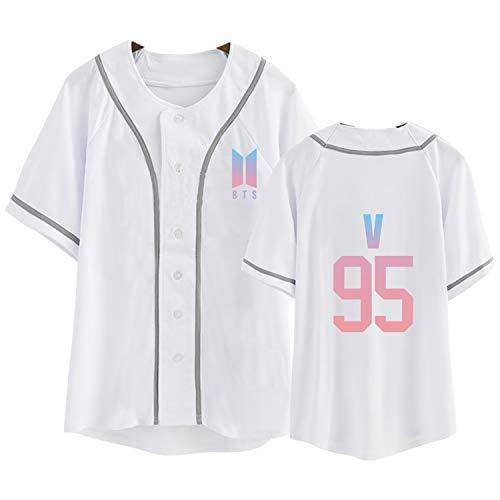 Aopostall Kpop BTS Same Style T-Shirt V Baseball Jersey Tee White