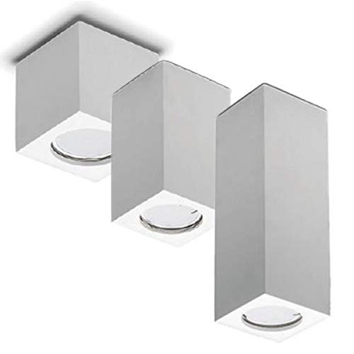 FuturPrint FUTUR PRINT - Porta Faretto in gesso verniciabile a forma di cubo a plafone bianco 4 misure 7cm 11cm 13cm 19cm - Lampada pendente da soffitto 100% Made in Italy (CUBO 7)