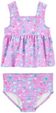 Carter's Toddler Baby Girls Swimwear Set (Heart Purple