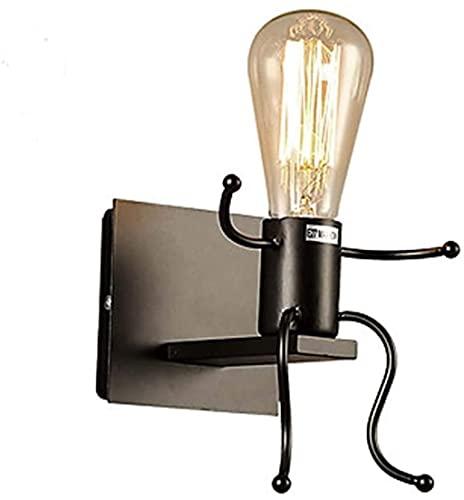 LIUYULONG Aplique de pared noche luz negro hierro forjado LED moderno creativo dormitorio cabecera villano sentado postura metal bombilla lámparas pared lavado luces