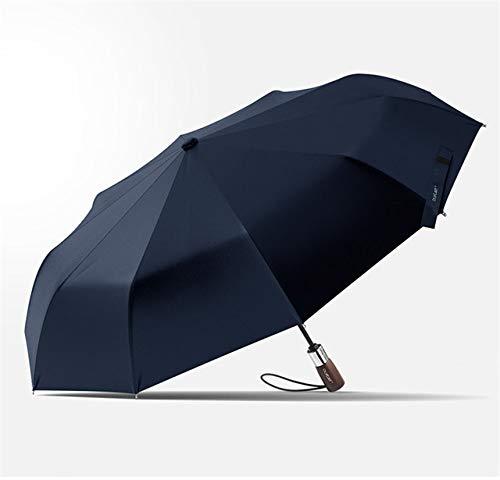 NJSDDB paraplu 1.15M Wind Resistant 3 Vouwen Automatische Paraplu Regen Vrouwen Auto Merk Houten Anti UV Grote Zonnescherm 10K Winddicht, navy bule