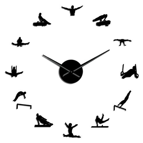 Reloj de Pared para Hombre, Gimnasia artística, Manos largas, Reloj de Pared 3D DIY, Regalo para Atleta, Deportista, Autoadhesivo, Negro, 37 Pulgadas