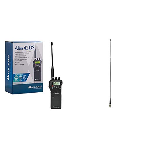 Midland Alan 42 DS CB Radio Ricetrasmittente Portatile AM/FM Multi Banda per Tutti i Paesi EU, Ricetrasmettitore con Presa Accessori 2 Pin & Albrecht 6577 Antenna Cb, Nero