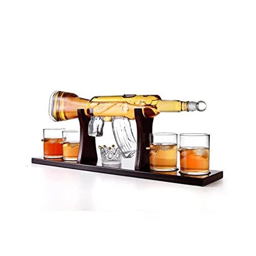 Decantador, recipiente de vino de vidrio de forma de vidrio, conjunto de vinos de vidrio, botella de vino artesanal, conjunto de bebidas de botella de vino con whisky decanter conjunto de bebidas