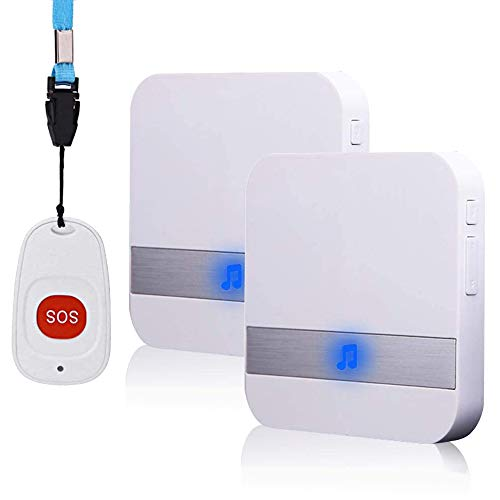 ALEENFOON Haus Wireless Mobiler Alarm Notruf Knopf Plug-in-Version Hausnotruf Panikalarm Funkalarm für Pflegebedürftige Geduldig Älterer Mann (1 bis 2)