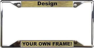 Custom Personalized 4 Hole Chrome Metal Car License Plate Frame with Free caps - Gold/Black