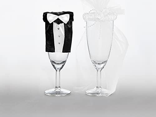 Unbekannt PartyDeco uk-karton–2er-Set Glasdekoration im Brautpaarlook