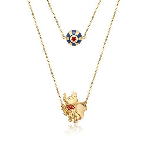 Disney-Couture Kingdom-Chaîne de cou plaquée or ornée d'une balle de cirque et de Dumbo