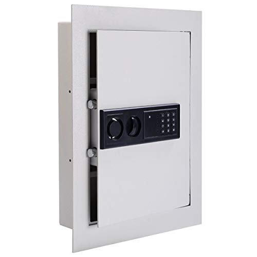 Digital Flat Recessed Wall Mount Safe Lock Security Home Office Workplace Commercial Depository Money, Jewelry, Small Pistol, Valuables
