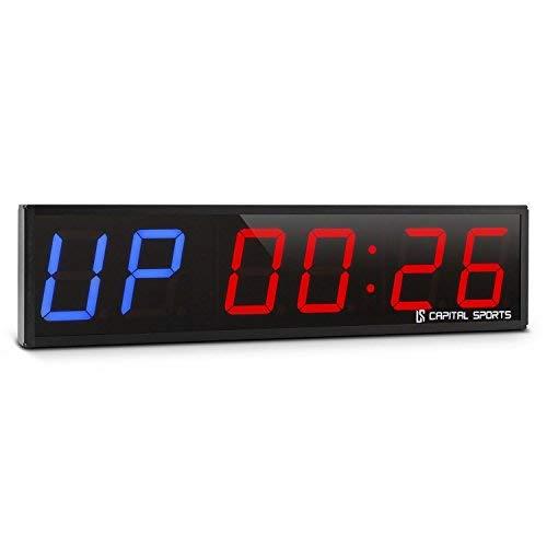 Capital Sports Timeter 2.0 cronometro Digitale (Timer Sportivo, 6 cifre a LED Rossi e Blu, Segnale Acustico, 5 modalità preimpostate, contagiri programmabile, Telecomando) - Nero