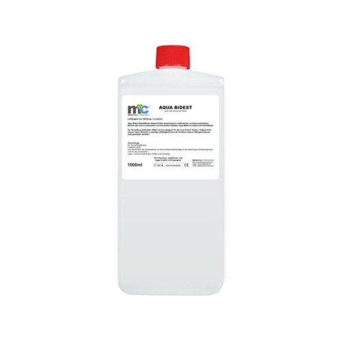 Aqua Bidest - 1 Liter, Laborwasser, Reinst-Wasser, bidstillierte Wasser, 2-fach destilliertes Wasser, durch Osmose entmineralisiert