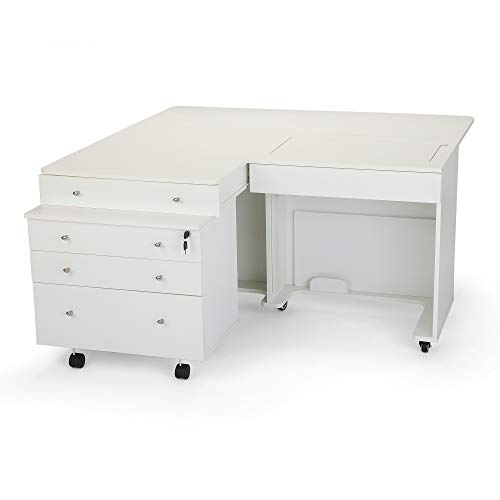 Arrow K8811 Kangaroo Sewing Cabinet for Sturdy Sewing, Cutting, Quilting, and Crafting with Joey II 3 Drawer Storage Cabinet, Portable with Wheels, White Ash Finish