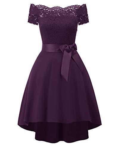 Laorchid Vintage Damen Kleid Spitzenkleid Off Schulter Cocktail Knielang A-Linie Lila XL