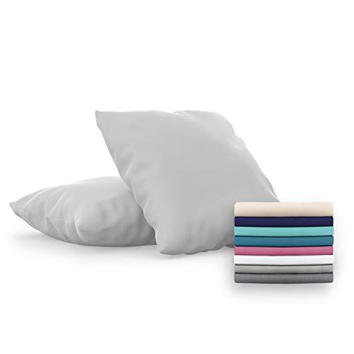 Dreamzie - Set de 2 x Funda de Almohada 60x60 cm, Gris Estaño, Microfibra (100% Poliéster) - Fundas de Almohadas Hipoalergénica - Fundas de Cojines de Calidad con una Suavidad Incomparable