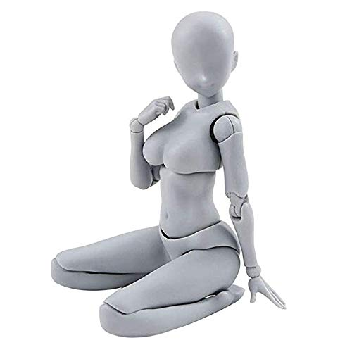 Artists Sketch Movable Limb Action Figure Model,Flexible Body Human Mannequin Kit,Articulated Kids Student Assemble Painting Toy,with Display Base and Pose Parts~About 13-15cm ({type=string, value=A})