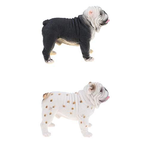 SM SunniMix Modelo de Animal de Plástico de Juguete de Bulldog Británico de Simulación de 2 Piezas para Niños