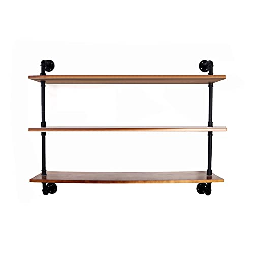 TTz Wall Mounted Storage Rack, Rustic Industrial Pipe Shelf, Wooden Bookshelf, Versatile Organizer Holder (Size : 23.6x10.23x43.3in)