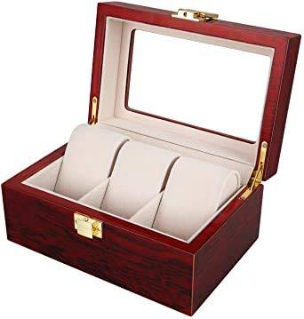 Watch Box Wood per 3 orologi Watch Box Scatola di immagazzinaggio