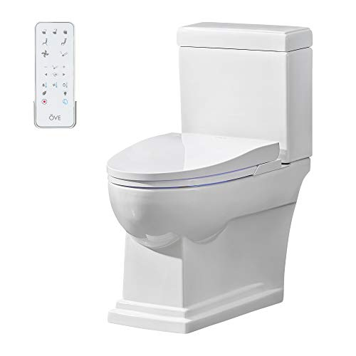 Ove Decors Nova Bidet Toilet Built-in Tankless Elongated, Automatic Flushing, Heated Seat, Soft Close, ECO Mode with Remote Control, White