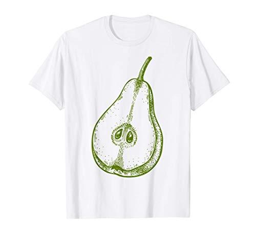 Disegno della linea retrò della frutta verde - Pera Maglietta