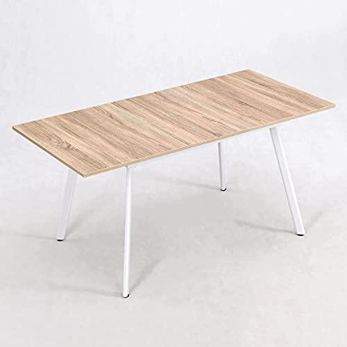 B&D home - Esstisch ausziehbar 120-160x80 cm   Holztisch in Sonoma Eiche   Metallgestell weiß