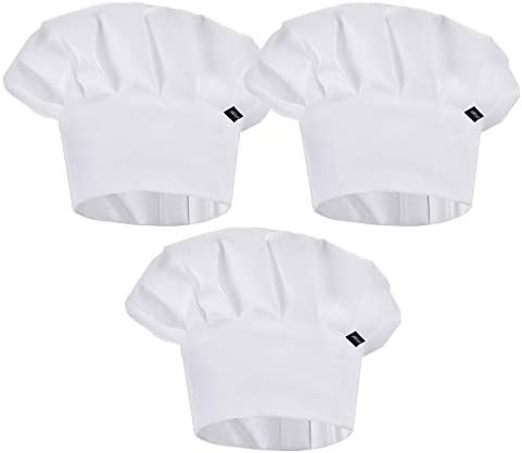 HIYUMY 3 Pieces Chef Hat for Kids Adjustable Elastic Cotton Cooking Cap Reusable Kitchen Baker product image