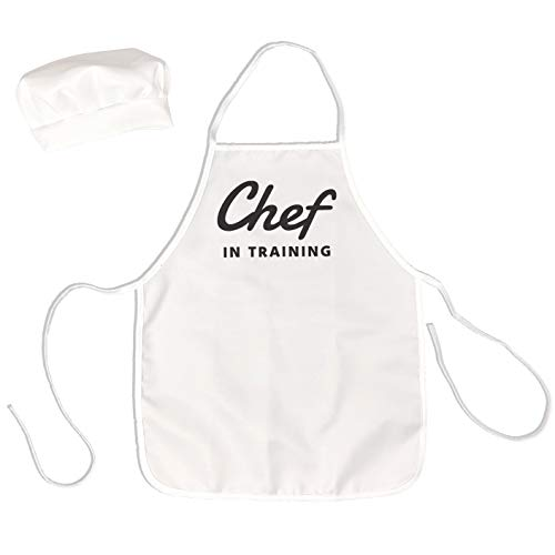 UP THE MOMENT Chef in Training Kids Apron & Chef Hat, Toddler Apron for Cooking, Childrens Chef Apron and Hat, Kids Apron and Chef Hat Set, White Kids Apron and Chef Hat