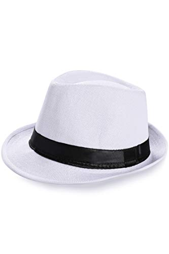BABEYOND 1920s Panama Fedora Hat Cap for Men Gatsby Hat for Men 1920s Mens Gatsby Costume Accessories (White, Polyester)
