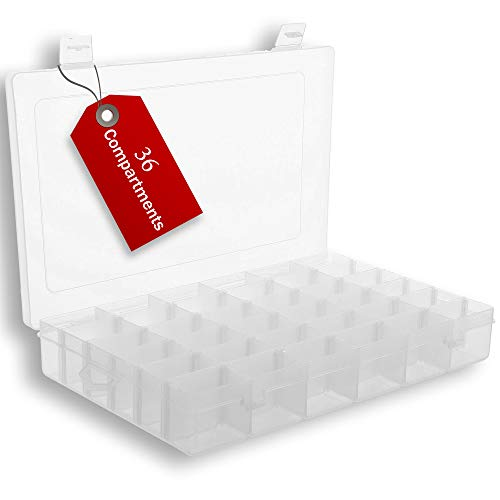 Plastic Organizer Box with Dividers | 36 Compartment Organizer | Bead Organizer | Best for Bead Storage, Felt Board Letters, Fishing Tackle, Loom Bands