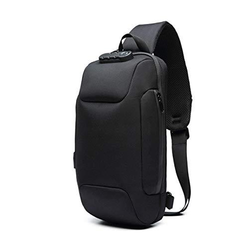 Nueva mochila multifunción impermeable, para hombres antirrobo bolsas de hombro masculina impermeable corto viaje Crossbody, Black (Negro) - berglink-M182KP-1