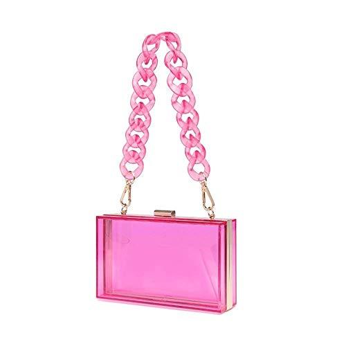 Bolso de acrílico de las mujeres de la caja de noche de la cadena del bolso para las señoras pequeño bolso crossbody para el bolso, Rosa, S