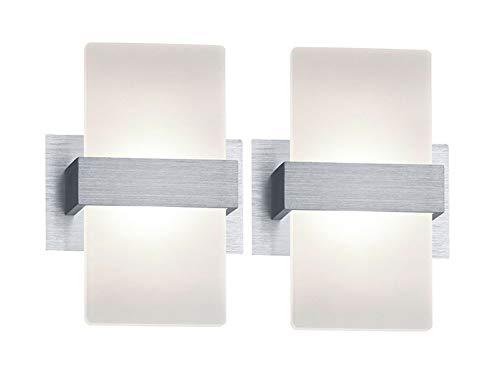 Stylishe LED Wandleuchte mit Schalter im 2er SET - edler Materialmix aus Alu gebürstet mit Acrylglasblende, 13x18cm