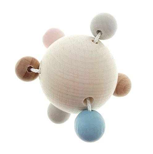 Hess Holzspielzeug 10128442 Rassel aus Holz, in Kugelform, ab 3 Monaten, ca. 6 x 6 x 6 cm, Geschenk zur Geburt oder Taufe, mehrfarbig, 50 g
