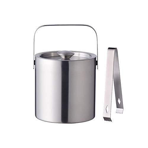 Stainless Steel Ice Bucket by LUCKYGOOBO - Portable Double Wall Ice Bucket with Tong, Hotel Bucket/Champagne Bucket/Beverage Bucket,Serveware for Party,Event,and Camping, Small,1.3 Liters 5.5 x 5.5 IN