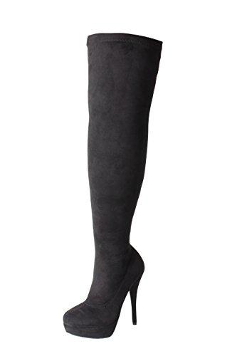 DOK136 Frauen Stilett über das Knie Hoch Strecken breite Passform Schwarze Overknee Stiefel Schuhe Größe 36 37 38 39 40 41 (43, Schwarz Wildleder-Optik)