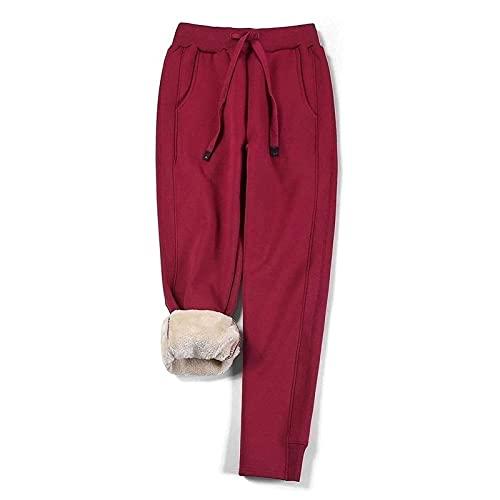 joyvio Pantalones Deportivos para Mujer Pantalones de chándal Largos Pantalones de Lana cálidos Pantalones de Entrenamiento con Forro Polar Grueso de Invierno Pantalones de Entrenamiento