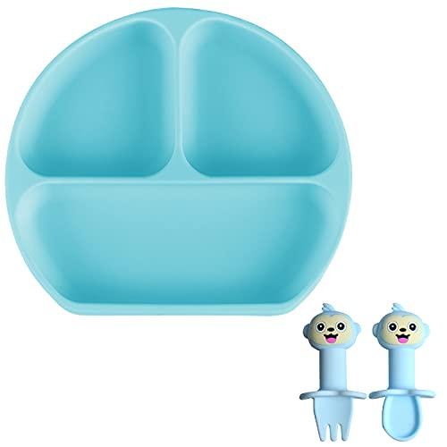 Plato de Silicona con Ventosa Antideslizantes Plato Bebe Ventosa con Niños Tenedor Cuchara Sin BPA Platos Bebé para Tronas y Hornos Microondas, Lavavajillas