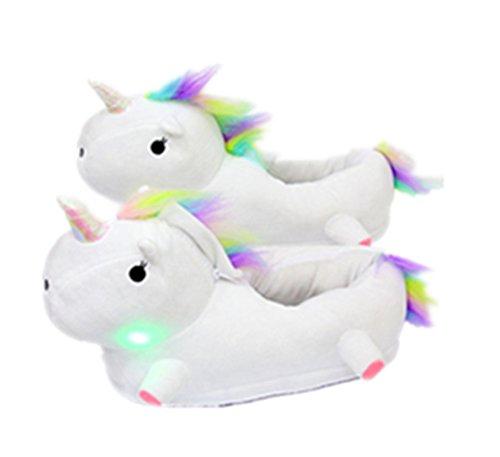 Unicornio Pantuflas NHsunray Trenzar Crines Y Cola Pantuflas De Peluche Felpa Ligero Suaves Y Calientes Zapatillas De Estar por Casa para Invierno Y Otoño (Blanco)