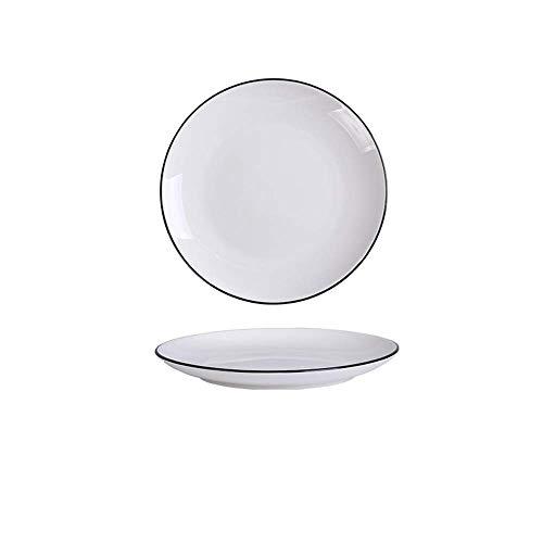 XUSHEN-HU cerámica Europa nórdica cerámicos de Uso doméstico Simple Vajilla Negro Negro Placa de los Cubiertos Blanca H de 10 Pulgadas Clásico